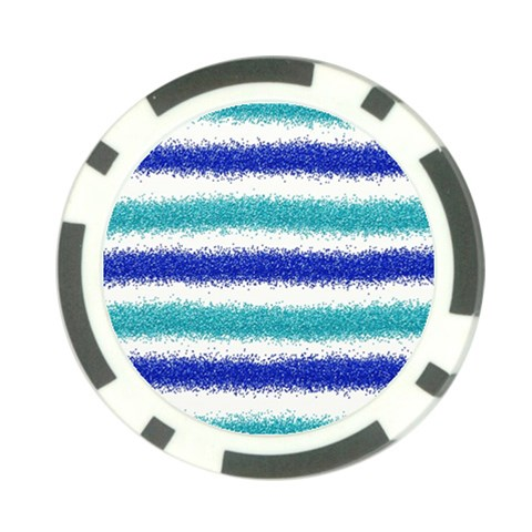 Metallic Blue Glitter Stripes Poker Chip Card Guards (10 pack)