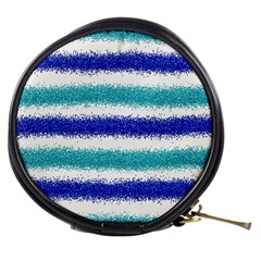 Metallic Blue Glitter Stripes Mini Makeup Bags