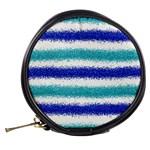 Metallic Blue Glitter Stripes Mini Makeup Bags Back