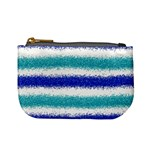Metallic Blue Glitter Stripes Mini Coin Purses Front
