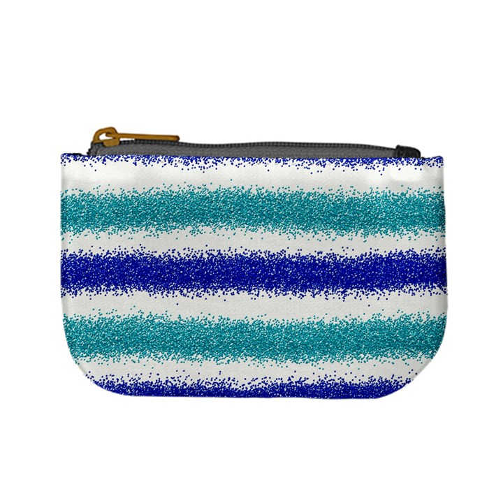 Metallic Blue Glitter Stripes Mini Coin Purses