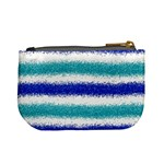 Metallic Blue Glitter Stripes Mini Coin Purses Back