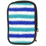 Metallic Blue Glitter Stripes Compact Camera Cases Front