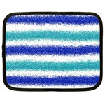 Metallic Blue Glitter Stripes Netbook Case (XL)  Front