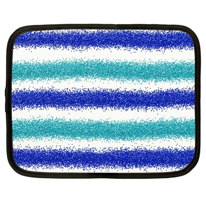 Metallic Blue Glitter Stripes Netbook Case (XL)