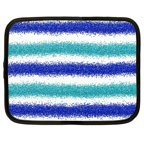 Metallic Blue Glitter Stripes Netbook Case (XXL)