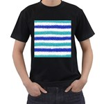 Metallic Blue Glitter Stripes Men s T-Shirt (Black) Front