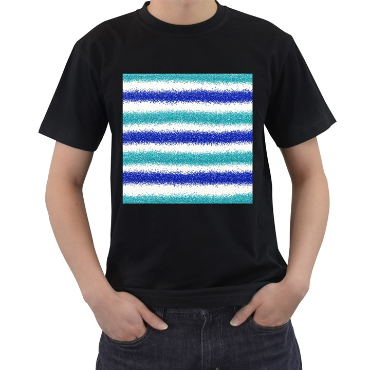 Metallic Blue Glitter Stripes Men s T-Shirt (Black)