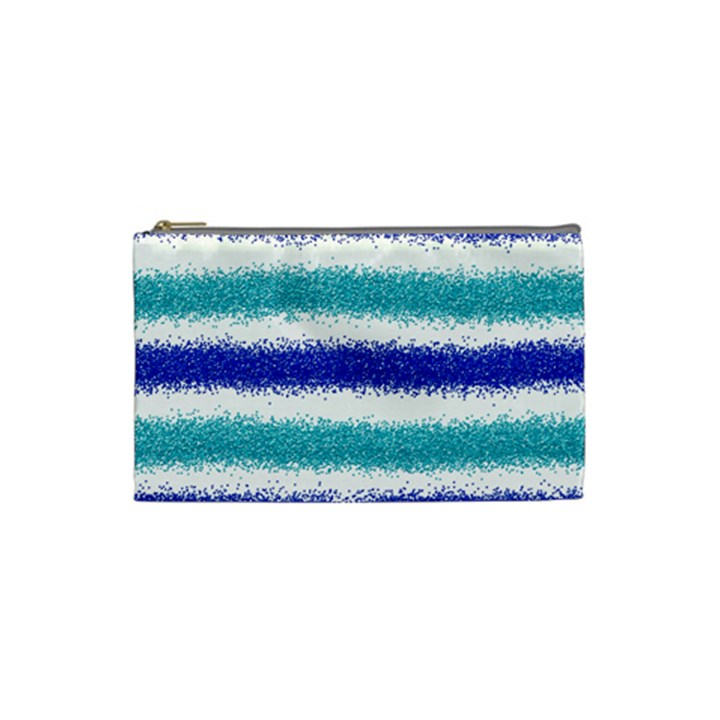 Metallic Blue Glitter Stripes Cosmetic Bag (Small)