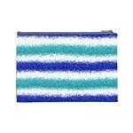 Metallic Blue Glitter Stripes Cosmetic Bag (Large)  Back