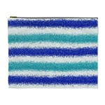 Metallic Blue Glitter Stripes Cosmetic Bag (XL) Front