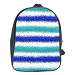 Metallic Blue Glitter Stripes School Bags(Large)  Front