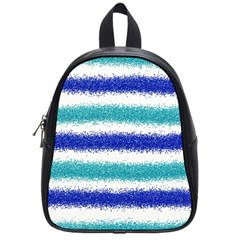 Metallic Blue Glitter Stripes School Bags (Small)