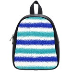 Metallic Blue Glitter Stripes School Bags (Small)  Front