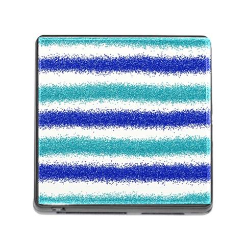 Metallic Blue Glitter Stripes Memory Card Reader (Square)