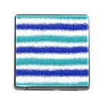 Metallic Blue Glitter Stripes Memory Card Reader (Square) Front