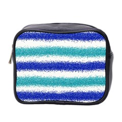 Metallic Blue Glitter Stripes Mini Toiletries Bag 2-Side