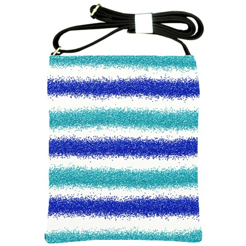 Metallic Blue Glitter Stripes Shoulder Sling Bags
