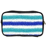 Metallic Blue Glitter Stripes Toiletries Bags 2-Side Front