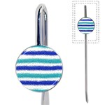 Metallic Blue Glitter Stripes Book Mark Front