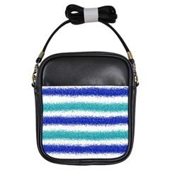 Metallic Blue Glitter Stripes Girls Sling Bags