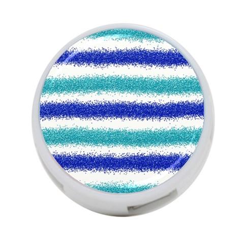 Metallic Blue Glitter Stripes 4-Port USB Hub (One Side)