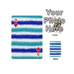 Metallic Blue Glitter Stripes Playing Cards 54 (Mini)  Front - Heart2