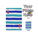 Metallic Blue Glitter Stripes Playing Cards 54 (Mini)  Front - Heart5