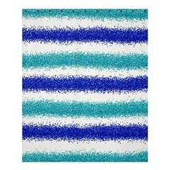 Metallic Blue Glitter Stripes Shower Curtain 60  x 72  (Medium)