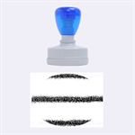 Metallic Blue Glitter Stripes Rubber Oval Stamps 1.88 x1.37  Stamp