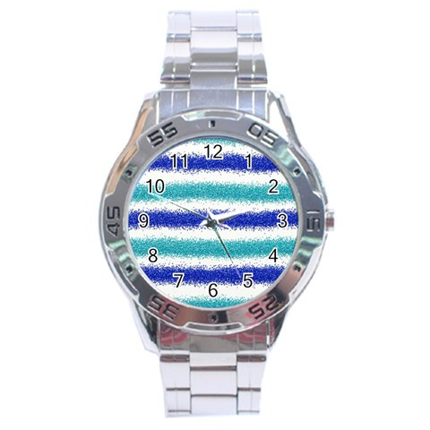 Metallic Blue Glitter Stripes Stainless Steel Analogue Watch