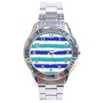 Metallic Blue Glitter Stripes Stainless Steel Analogue Watch Front
