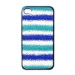 Metallic Blue Glitter Stripes Apple iPhone 4 Case (Black) Front