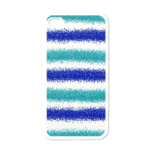 Metallic Blue Glitter Stripes Apple iPhone 4 Case (White)
