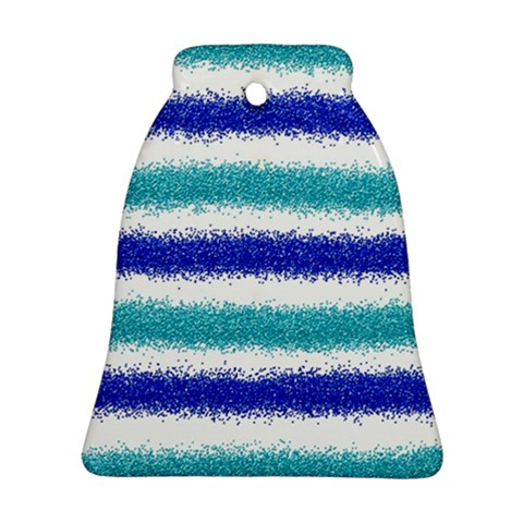 Metallic Blue Glitter Stripes Ornament (Bell)