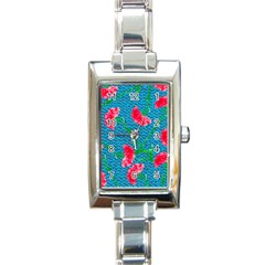 Carnations Rectangle Italian Charm Watch