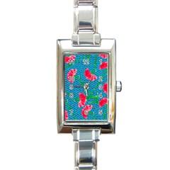 Carnations Rectangle Italian Charm Watch