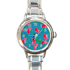 Carnations Round Italian Charm Watch