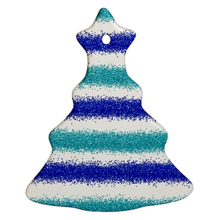 Metallic Blue Glitter Stripes Christmas Tree Ornament (2 Sides)