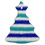 Metallic Blue Glitter Stripes Christmas Tree Ornament (2 Sides) Back
