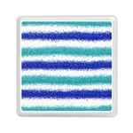 Metallic Blue Glitter Stripes Memory Card Reader (Square)  Front