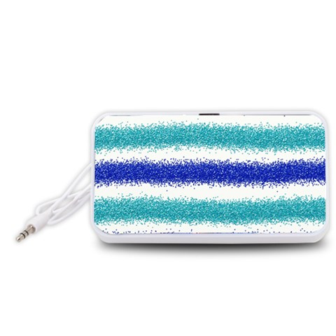 Metallic Blue Glitter Stripes Portable Speaker (White)