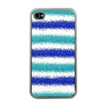 Metallic Blue Glitter Stripes Apple iPhone 4 Case (Clear) Front