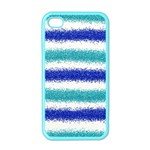 Metallic Blue Glitter Stripes Apple iPhone 4 Case (Color) Front