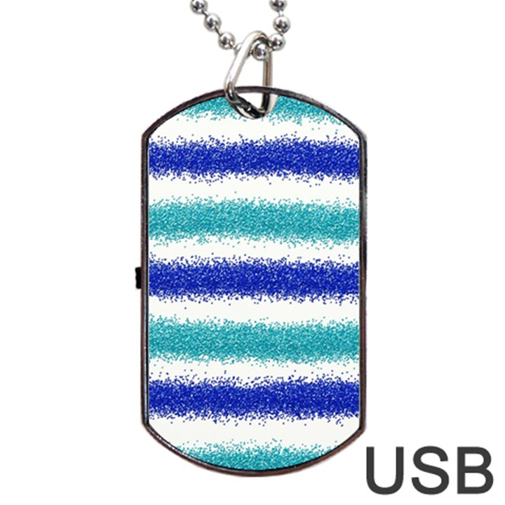 Metallic Blue Glitter Stripes Dog Tag USB Flash (One Side)