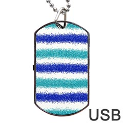 Metallic Blue Glitter Stripes Dog Tag USB Flash (Two Sides)
