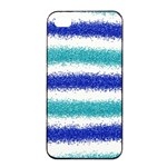 Metallic Blue Glitter Stripes Apple iPhone 4/4s Seamless Case (Black) Front