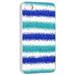 Metallic Blue Glitter Stripes Apple iPhone 4/4s Seamless Case (White) Front