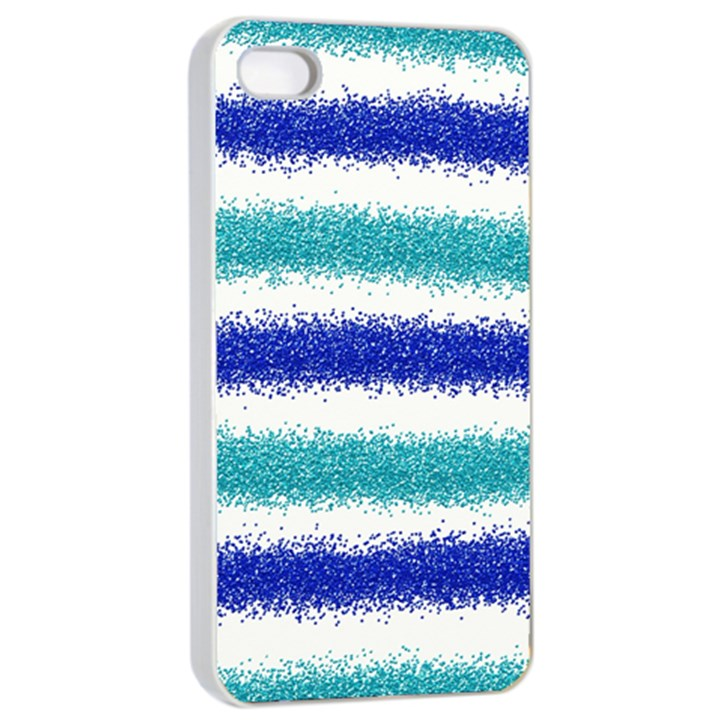 Metallic Blue Glitter Stripes Apple iPhone 4/4s Seamless Case (White)
