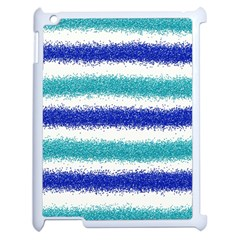 Metallic Blue Glitter Stripes Apple iPad 2 Case (White)